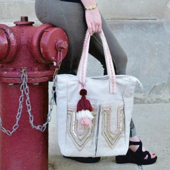 America & Beyond Handbags - Peach Parfait Two Pocket Fairtrade Tote Bag